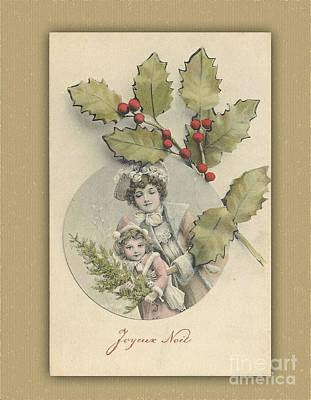 Digital Art - French Christmas Card With Holly by Melissa Messick