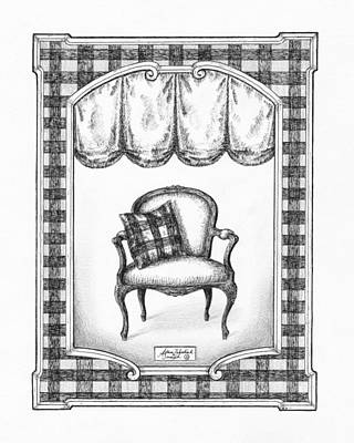 Paper Images Drawing - French Country Fauteuil by Adam Zebediah Joseph