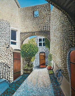 French Country House With Bike. Original