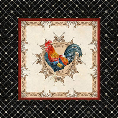 French Country Roosters Quartet Black 2 Art Print by Audrey Jeanne Roberts