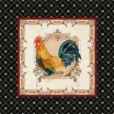 Painted Mixed Media - French Country Roosters Quartet 4 by Audrey Jeanne Roberts
