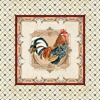 French Country Roosters Quartet Cream 1 Art Print by Audrey Jeanne Roberts