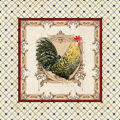 French Country Roosters Quartet Cream 3 Art Print by Audrey Jeanne Roberts