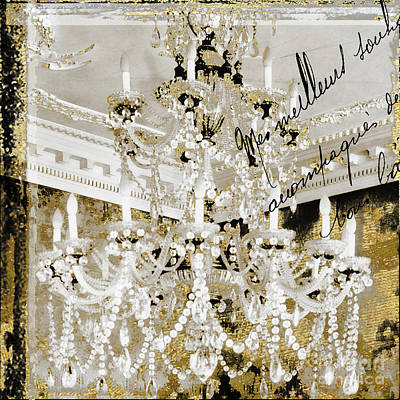 Ballroom Dance Painting - French Draped Pearls Chandelier by Mindy Sommers
