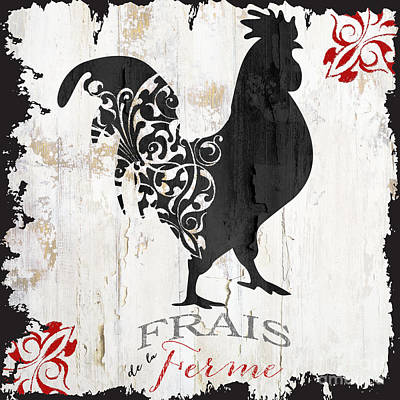 Rooster And Hen Painting - French Farm Sign Rooster by Mindy Sommers