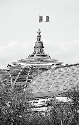 Photograph - French Flag Flying Above Beaux Arts Glass Ceiling Of Grand Palais Paris France Black And White by Shawn O'Brien
