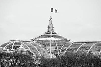 Photograph - French Flag Flying Above Beaux Arts Glass Roof Of Grand Palais Paris France Black And White by Shawn O'Brien