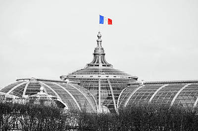 Digital Art - French Flag Flying Above Beaux Arts Glass Roof Of Grand Palais Paris France Color Splash by Shawn O'Brien