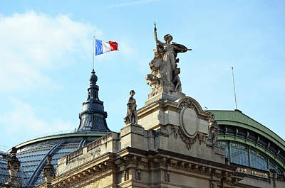 Photograph - French Flag Flying Above Entrance And Glass Roof Of Grand Palais Paris France  by Shawn O'Brien