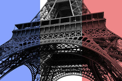 Digital Art - French Flag Motif Eiffel Tower Base And First Floor Perspective by Shawn O'Brien