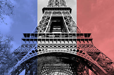 Digital Art - French Flag Motif Eiffel Tower First And Second Floors Paris France Digital Art by Shawn O'Brien