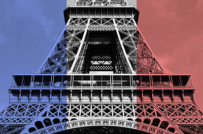 Digital Art - French Flag Motif Eiffel Tower First And Second Levels Paris France by Shawn O'Brien