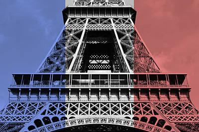 Digital Art - French Flag Motif Eiffel Tower First And Second Levels Paris France by Shawn O'Brien