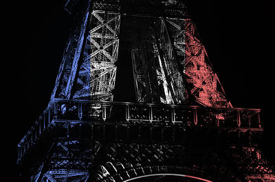 Photograph - French Flag Motif Eiffel Tower Illuminated At Night Paris France by Shawn O'Brien