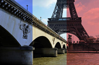 Digital Art - French Flag Motif Over Pont D'iena Over The Seine River Below Eiffel Tower Paris France by Shawn O'Brien