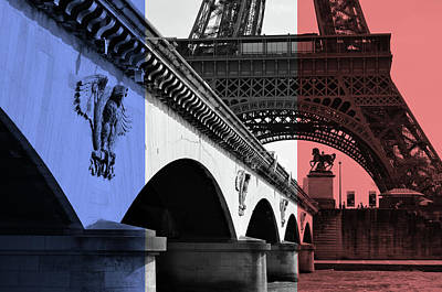 Photograph - French Flag Motif Pont D'iena Bridge Leading To The Base Of The Eiffel Tower by Shawn O'Brien
