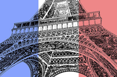 Digital Art - French Flag Theme Eiffel Tower Base And First Floor Paris France Stamp Digital Art by Shawn O'Brien