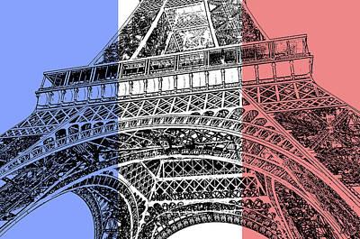 Digital Art - French Flag Theme Eiffel Tower Base And First Floor Paris France Stamp Digital Art by Shawn O'Brien