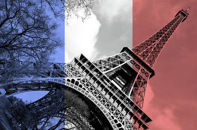 Photograph - French Flag Themed Eiffel Tower Angled Perspective Paris France by Shawn O'Brien