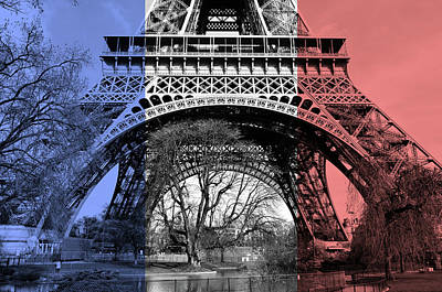 Photograph - French Flag Themed Eiffel Tower Base And First Floor Perspective Paris France by Shawn O'Brien