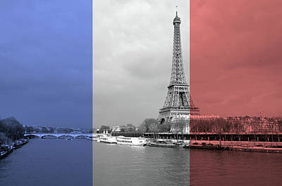 Photograph - French Flag Themed Scenic Of The Eiffel Tower Overlooking Left And Right Banks Of The Seine River by Shawn O'Brien