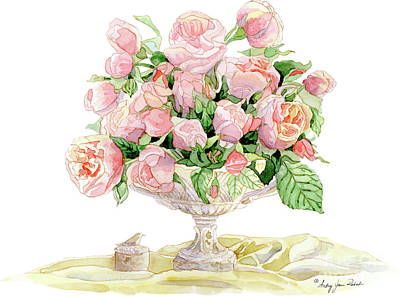 Painting - French Floral Still Life - Bouquet Of Antique English Roses by Audrey Jeanne Roberts