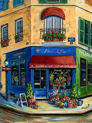 Paris Street Scene Painting - French Flower Shop by Marilyn Dunlap