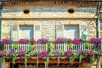 French Flowers On A Balcony Art Print by Georgia Fowler
