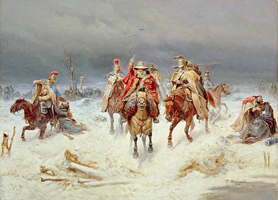 War 1812 Painting - French Forces Crossing The River Berezina In November 1812 by Bogdan Willewalde