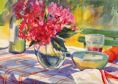 Checked Tablecloths Painting - French Garden Table by Sue Wales