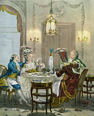 Exposed Drawing - French Gentry Dining In The 18th by Vintage Design Pics