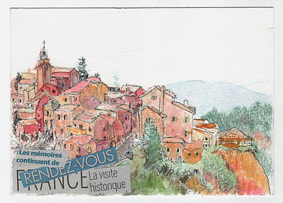 Print featuring the painting French Hill Top Village by Tilly Strauss