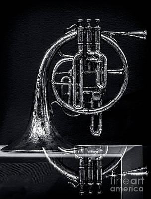 French Horn Beyond A Glass Table Art Print