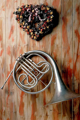 French Horn Hanging On Wall Art Print by Garry Gay