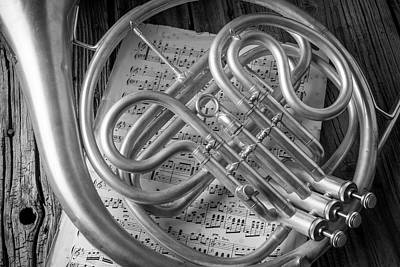 Sheet Music Photograph - French Horn In Black And White by Garry Gay