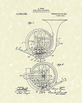 Trombone Drawing - French Horn Musical Instrument 1914 Patent by Prior Art Design