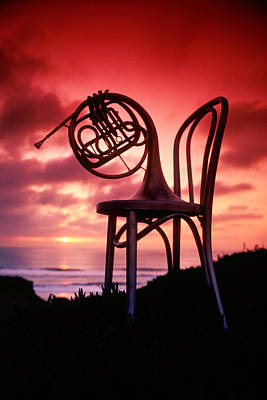 French Horn On Chair Art Print by Garry Gay