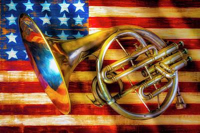 Photograph - French Horn On Folk Art Flag by Garry Gay
