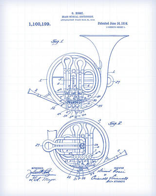 Painting - French Horn Patent Drawing by Gary Grayson