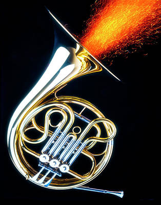 French Horn Photograph - French Horn Shooting Sparks by Garry Gay