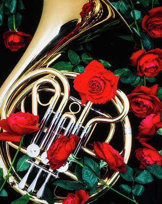 Brass Leafs Photograph - French Horn With Red Roses by Garry Gay