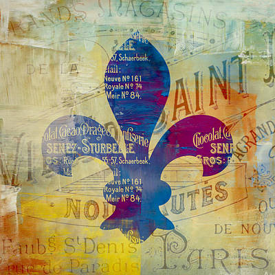 Travel Destinations Mixed Media - French Inspired Fleur De Lis by Brandi Fitzgerald