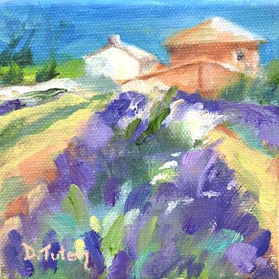 Oil Painting - French Lavender Farm by Donna Tuten