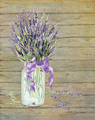 French Lavender Rustic Country Mason Jar Bouquet On Wooden Fence Art Print by Audrey Jeanne Roberts