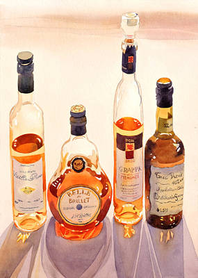 Cognac Painting - French Liqueurs by Mary Helmreich