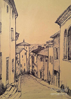 Drawing - French Little Town Drawing by Maja Sokolowska