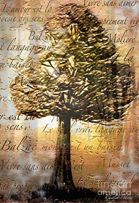Art Nouveau Style Mixed Media - French Love Quotes Among The Trees by Caitlin Lodato