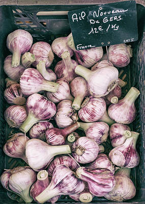 Country Cottage Photograph - French Market Finds - Garlic by Georgia Fowler
