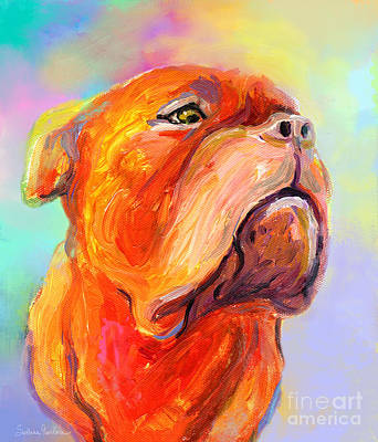 Pets Art Mixed Media - French Mastiff Bordeaux Dog Painting Print by Svetlana Novikova