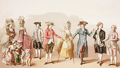 French Men S Fashions During The Reign Art Print by Vintage Design Pics
